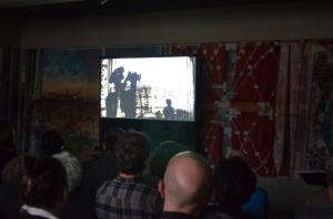 Präsentation von Murat Haschus filmischer Interpretation des Enwurfs zur Tapisserie. Demnächst auch online zu sehen.
