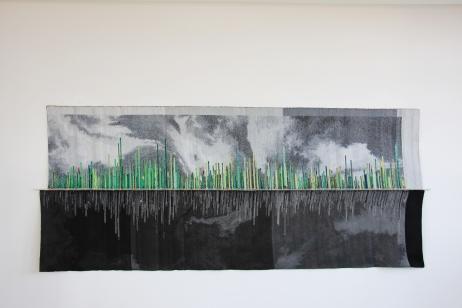 Am Anfang war der Klang_Soo Youn Kim_03FAmily_Der Rhythmus der Pflanzen und Tag und Nacht, 2teiliges Jacquard-Gewebe, 168x388cm, 2015