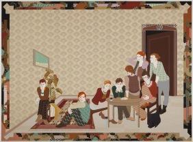 Franziska Friese - Worauf warten sie hier? - 2011 - 300 x 500 cm - Gobelinkarton